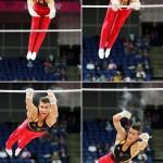 LONDRES. Combo de fotografía del alemán Philipp Boy compite durante la ronda clasificatoria de la prueba de barra horizontal, gimnasia, en los Juegos Olímpicos de Londres 2012. Foto: EFE