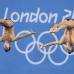LONDRES. Los mexicanos Germán Sanchez e Ivan García Navarro compiten en la disciplina de salto de plataforma sincronizada de 10 metros, durante los Juegos Olímpicos de Londres 2012. Foto: EFE