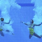 LONDRES. Las nadadores alemanas Christin Steuer (d) y Nora Subschinski (i) tras el salto de la final de plataforma 10 m sincronizado femenino durante los Juegos Olímpicos de Londres 2012. Foto:EFE