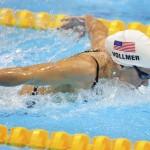 LONDRES. La nadadora estadounidense Dana Vollmer participa en una de las mangas de 100 metros mariposa en la competicion femenina de natación de los Juegos Olímpicos de Londres 2012. Foto: EFE