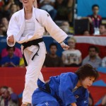LONDRES. La húngara Eva Csernoviczki (i) celebra tras derrotar a la japonesa Tomoko Fukumi y obtener el bronce durante la ronda femenina de 48 kilogramos en judo, en los Juegos Olímpicos Londres 2012. Foto: EFE