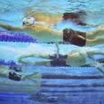LONDRES. El nadador ruso Alexander Sukhorukov (al frente) durante la competición de 4x200m estilo libre masculino de natación en los Juegos Olímpicos de Londres 2012. Foto: EFE