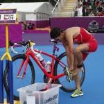 LONDRES. La chilena Barbara Riveros, durante la prueba de triatlón femenino en los Juegos Olímpicos de Londres 2012. Foto: EFE