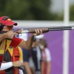 LONDRES. El tirador español Jesús Serrano dispara su rifle en la prueba de tiro olímpico en foso, correspondiente a los Juegos Olímpicos de Londres 2012. Foto: EFE