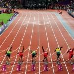 LONDRES. Atletas participan en la prueba de los 100 metros planos masculino, durante las competencias de atletismo de los Juegos Olímpicos Londres 2012. Foto: EFE