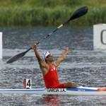DORNEY. El cubano Jorge Antonio García, ganador de la final B, gesticula tras disputar el sprint final de Canoa individual (C1) maculina de 1.000 metros de los Juegos Olímpicos de Londres 2012 en el canal Eton Dorney. Foto: EFE
