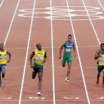 LONDRES. Llegada de la segunda semifinal de los 200 metros masculinos en el Estadio Olímpico de Londres. De derecha a izquierda: Kamil Krynski (Polonia), Alex Wilson (Suisa), Anaso Jododwana (Sudáfrica), Aldemir Da Silva (Brasil), Usain Bolt (Jamaica), Alex Quiñones (Ecuador), Isiah Young (USA), y Aaron Brown (Canada). Foto: EFE