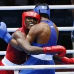 LONDRES. El cubano Julio La Cruz (i) combate contra el brasileño Yamaguchi Florentino Falcao, en una pelea de boxeo en los Juegos Olímpicos de 2012. Foto: EFE