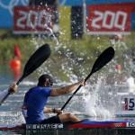 LONDRES. El atleta ecuatoriano César de Cesare durante la prueba clasificatoria de los 200 metros en la categoría K2 de los Juegos Olímpicos Londres 2012. Foto: EFE