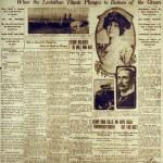 Portada del diario Owensboro Daily Messenger en 1912 sobre el hundimiento del Titanic.