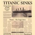 Portada del diario London Herald en 1912 sobre el hundimiento del Titanic.