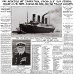 Portada del diario The New York Times en 1912 sobre el hundimiento del Titanic.