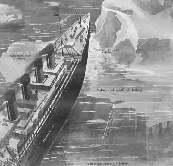 Ilustración del National Maritime Museum que muestra el instante en que el Titanic choca con el iceberg.