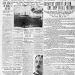 Portada de El Paso Herald en 1912 sobre el hundimiento del Titanic.
