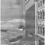 Ilustración del National Maritime Museum de la altura del Titanic comparado con un edificio, al momento de la evacuación.
