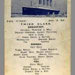Menú de Tercera Clase del Titanic. Foto: EFE