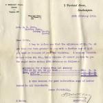 Carta de la compensación enviada por el Fondo de Ayuda Titanic a la madre Millvina Dean.
