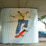 Uno de los murales, en honor a los skaters, del conjunto recreacional Deportes Extremos Skateboarding y Bicicross.