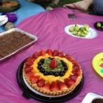 Una tarta de frutas hecho por Sarah Vélez fue uno de los postres que más llamó la atención en el picnic vegano.
